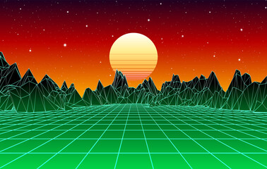 Neon grid mountain landscape and yellow sun with old 80s arcade game style for New Retro Wave party poster or 80s revival music album cover.