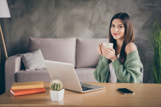 Photo of optimistic brunette girl from home hold cup laptop wear green shirt indoors