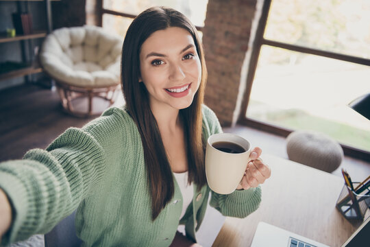 Portrait of optimistic girl doing selfie drink coffee from home wear green shirt indoors