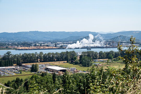 Longview, Washington - July 31, 2020: Lookout vista point of the Columbia River and the Lewis and Clark bridge