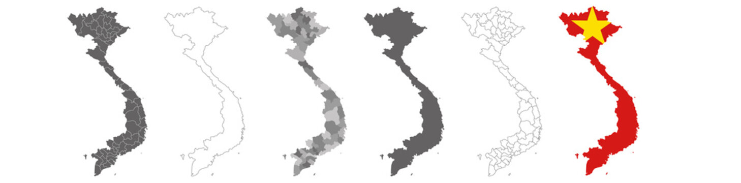 set of political maps of Vietnam with regions and flag map isolated on white background
