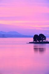 宍道湖の夕焼けと嫁ヶ島
