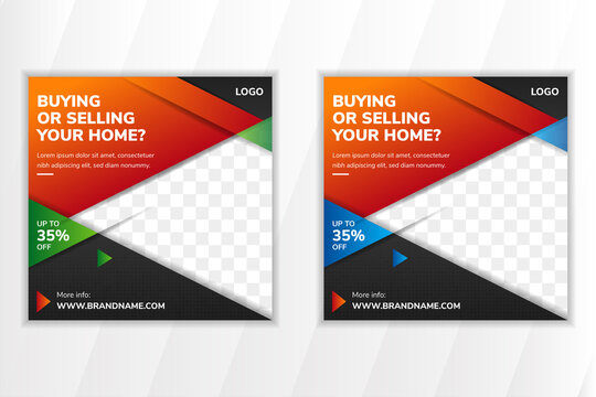 social media banner template design for promotion of buying and selling your home. square layout with space for photo. triangle geometric background with shadow element.