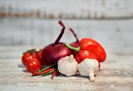 fresh vegetables on a cutting Board