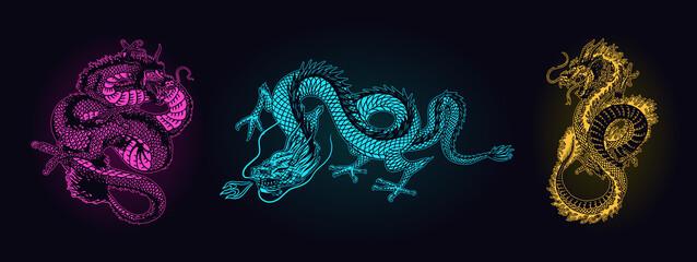 Japanese neon dragon. Mythological animal or Asian traditional reptile. Symbol for tattoo or label. Engraved hand drawn line art Vintage old monochrome sketch, ink. Vector illustration.