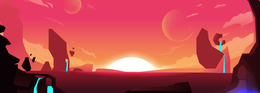 Background with red planet and mountains with water. Dawn in space, the sun on the horizon. Cartoon vector illustration