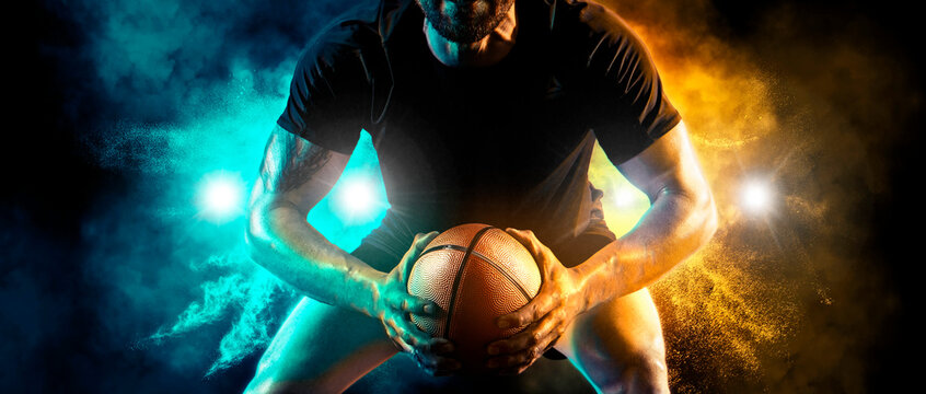 Rugby player in action. Sports banner