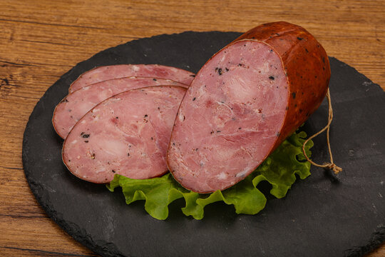 Smoked ham sausage with spices