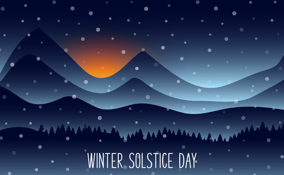 Winter solstice day in December the 21. Greeting card design template. The dark sky with sunset or sunrise. The longest night in the year.