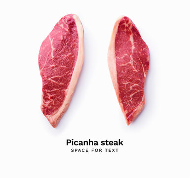 Black angus prime picanha beef steak isolated on white background with copy space
