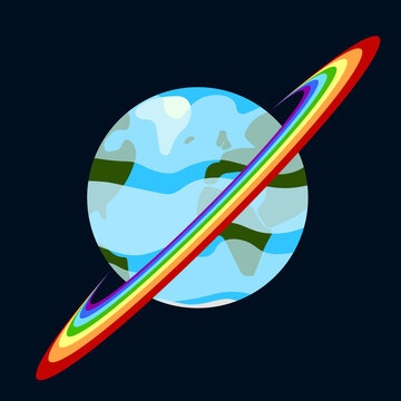 Cartoon image of a planet with a rainbow belt. Abstract detailed multi-colored image. Vector drawing in black outer space.