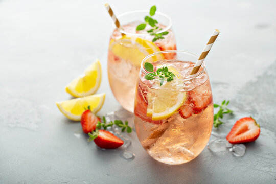 Strawberry lemon sparkling rose sangria cocktail