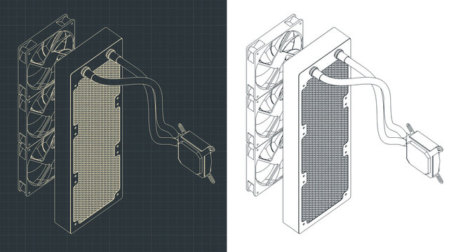 Liquid cooling system isometric drawings