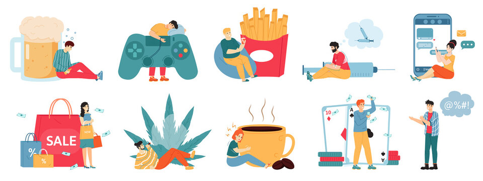 Bad addictions. Male and female characters with drug addiction, overeating, alcoholism, unhealthy lifestyle. Addicted people vector illustrations. Gambling, smartphone and marijuana dependency