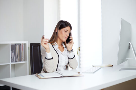 businesswoman working at home office