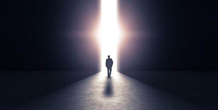 Man walking towards light. 3d rendering
