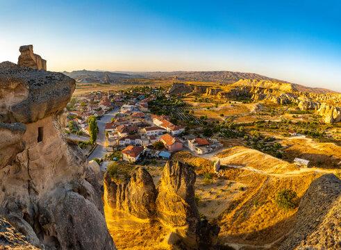 Old troglodyte settlement of Cavusin, cave churches in rocks, Cappadocia, Turkey