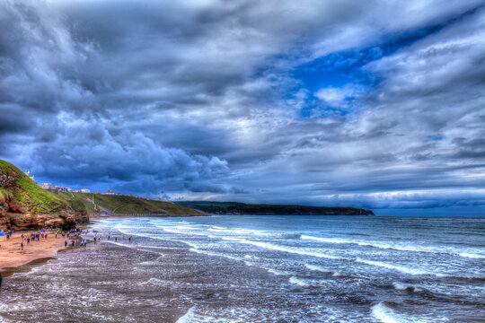 View of North Sea coast in Whitby, Yorkshire, Great Britain.