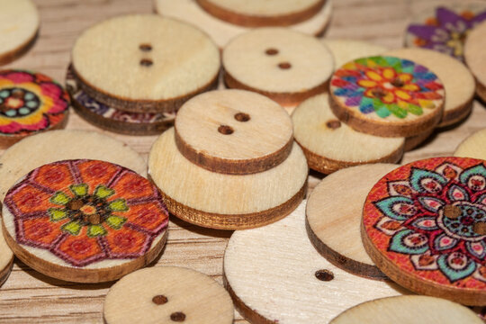Cute Coloured Buttons on a Desk Close Up