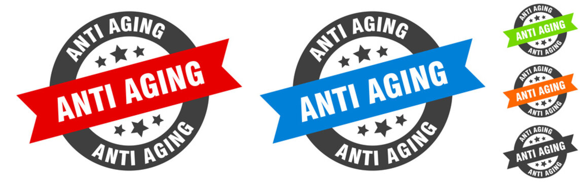 anti aging stamp. anti aging round ribbon sticker. tag