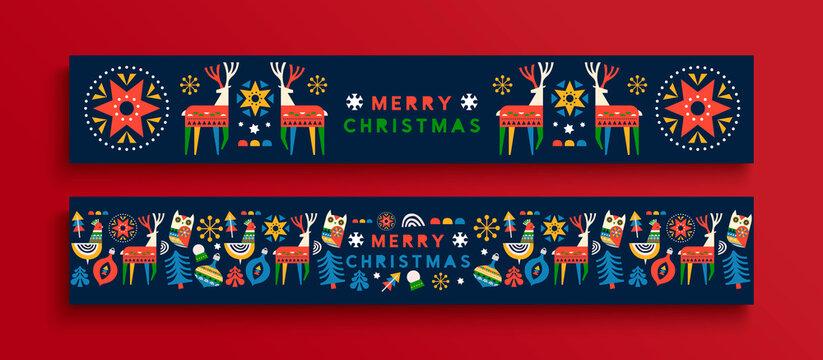 Merry Christmas folk animal banner cartoon set