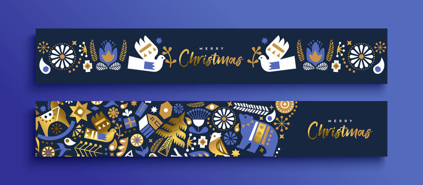 Christmas nordic folk gold luxury banner set