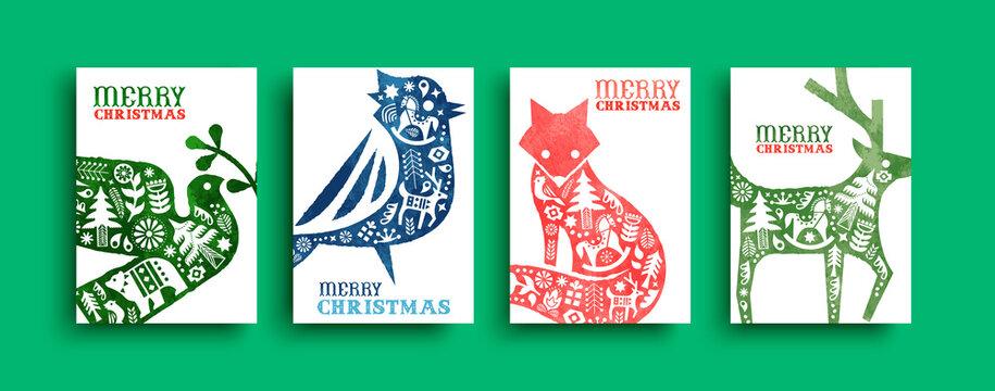 Merry Christmas watercolor folk animal card set