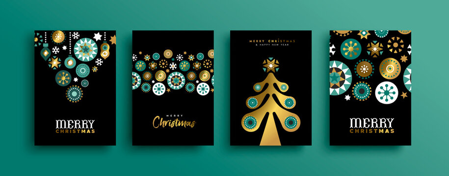 Merry Christmas gold abstract ornament card set