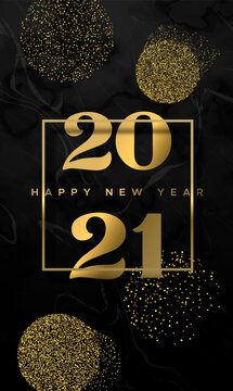 New Year 2021 gold glitter black marble card