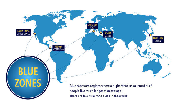Map of the blue zones of longevity where people live longer than the rest of the world
