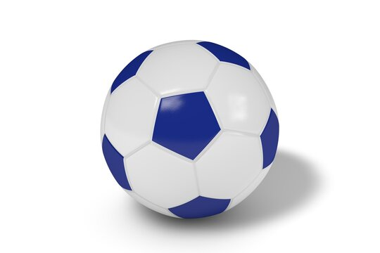 Blue and white soccer ball on a white background. 3d illustration.