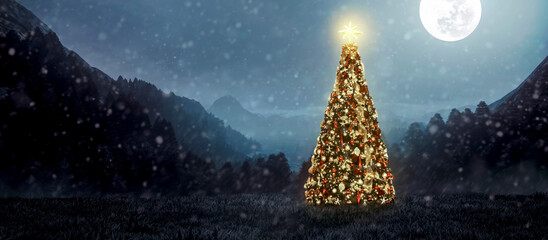 snowy landscape with christmas pine shining under moonlight on beautiful christmas night