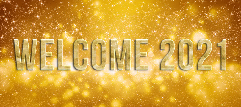 message WELCOME 2021 in front of colorful particle background