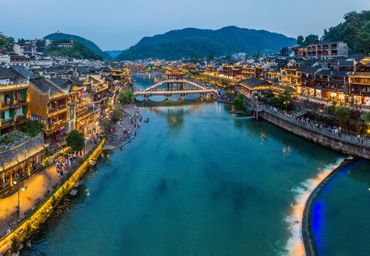 Evening view of Fenghuang Ancient Town, Hunan province, China