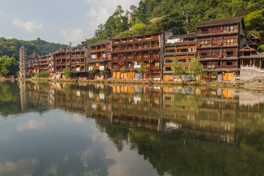 Riverside buildings in Fenghuang Ancient City, Hunan province, China