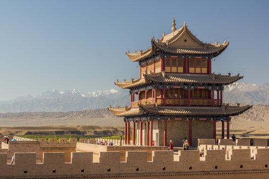 JIAYUGUAN, CHINA - AUGUST 22, 2018: Tower of Jiayuguan Fort, Gansu Province, China