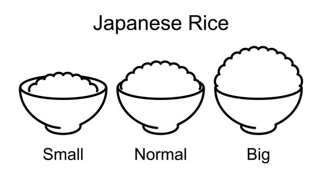Japanese cooked rice. 3 types by size.