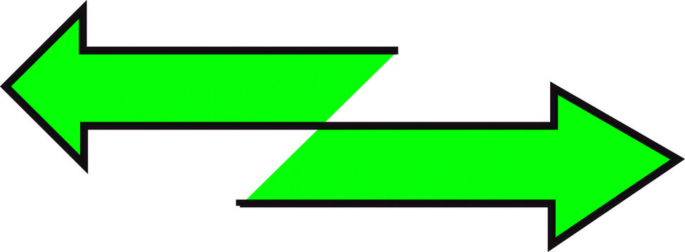 Double neon green arrows pointing in both directions