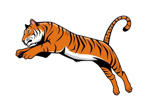 Tiger Jumping Mascot Logo Vector Illustration, E-Sport Logo