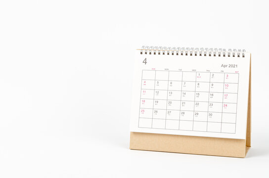 April month, Calendar desk 2021 for organizer to planning and reminder on white background. Business planning appointment meeting concept
