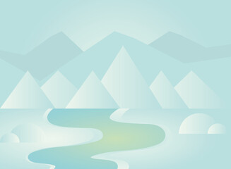 winter landscape mountains and river scenery background
