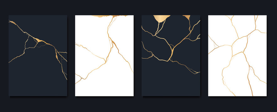 Gold kintsugi cover design vector. Luxury golden marble texture. Crack and broken ground pattern for wall arts, home decoration, print and wallpaper.