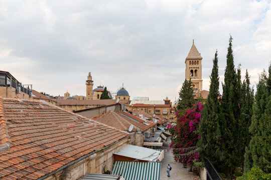 The Muristan street and the Lutheran Church of the Redeemer in the old city of Jerusalem, in Israel