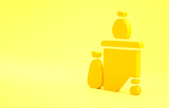 Yellow Dumpsters being full with garbage icon isolated on yellow background. Garbage is pile lots dump. Garbage waste lots junk dump. Minimalism concept. 3d illustration 3D render.