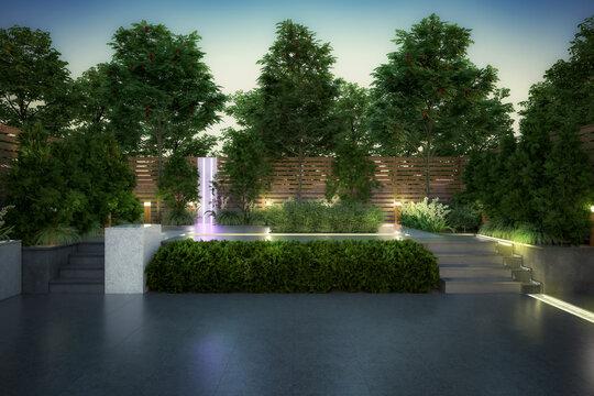 Empty Garden Patio - 3d visualization