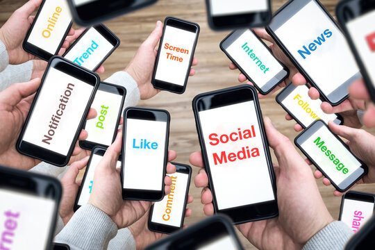 Social media terms on many smartphone screens