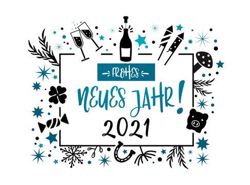 frohes neues Jahr 2021 Kalligraphie mit Symbolen - Grußkarte mit Feuerwerk, Sekt, Sternen und Glücksbringern rot und schwarz