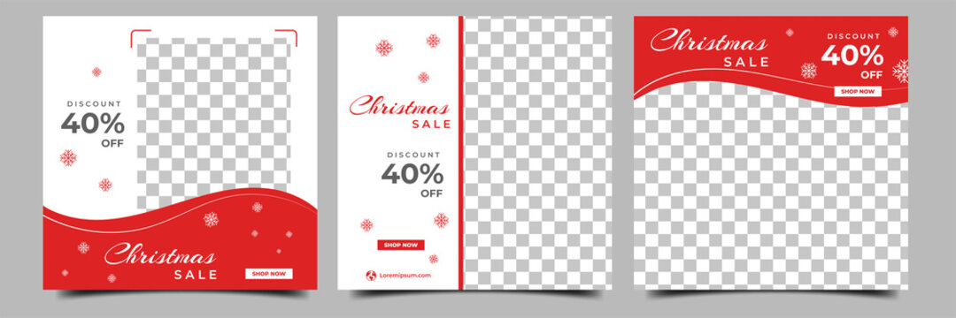 Set of editable square banner designs. Red and white color background with snowflakes illustration. Christmas social media post with a photo collage. Usable for social media, and web internet ads.