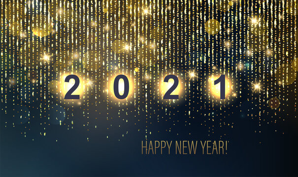 2021 New Year Abstract shiny color gold luxury background
