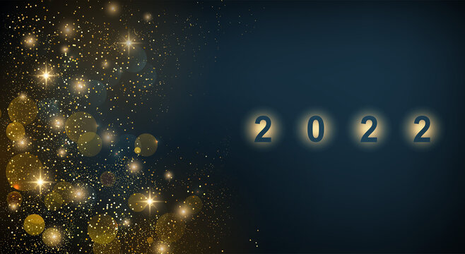 2022 New Year Abstract shiny color gold design element